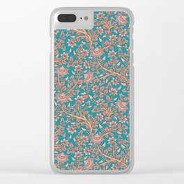 Flowers on Turquoise Background. Clear iPhone Case