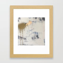 Hush: an abstract mixed-media piece in white and gold with a hint of blue Framed Art Print