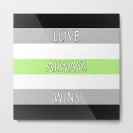 Love Always Wins (Agender Flag) Metal Print