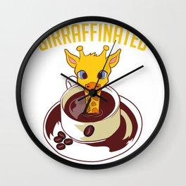 """Giraffe Themed Top For Zoo Goers """"Girraffinated"""" T-shirt Design Caffeine Hot Frappe Caramel Wall Clock"""