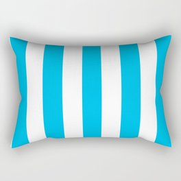 Cyan (process) azure - solid color - white vertical lines pattern Rectangular Pillow