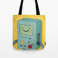 bmo Tote Bags featuring BMO by HeatherAckley