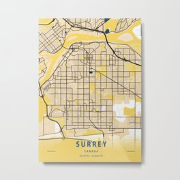 Surrey Yellow City Map Metal Print