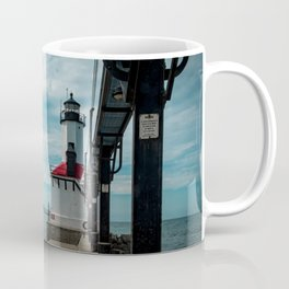 Michigan City East Pierhead Lighthouse and Catwalk Lake Michigan Light Station Coffee Mug