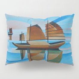 Soft Skies, Cerulean Seas and Cubist Junks Pillow Sham