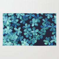 stickers Area & Throw Rugs featuring Hand Painted Floral Pattern in Teal & Navy Blue by micklyn