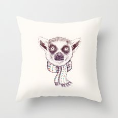 Lemur and scarf  Throw Pillow