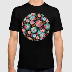 Whimsical Hexagon Garden on black Black X-LARGE Mens Fitted Tee