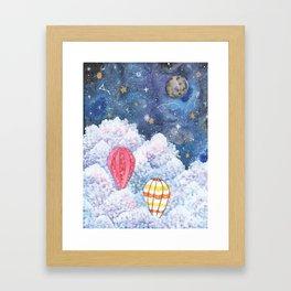 Rise Above | Night Sky Hot Air Balloon Illustration | Watercolor | Galaxy Framed Art Print