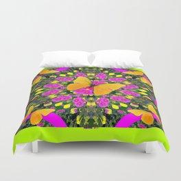 Modern Yellow Butterfly Chartreuse-Green Pattern Pink Art Duvet Cover
