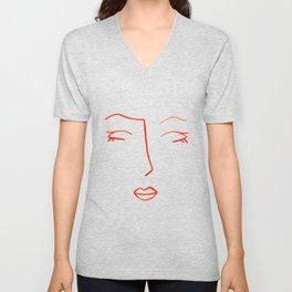Orange Sleeping Beauty Minimalist Abstract Womankind Minimal Line Drawing Womans Face Unisex V-Neck