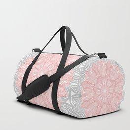 MANDALA IN GREY AND PINK Duffle Bag