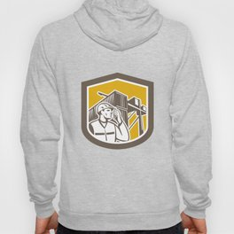 Dock Worker on Phone Container Yard Shield Hoody