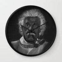 einstein Wall Clocks featuring Einstein by Paula Leão