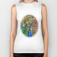 peacock Biker Tanks featuring peacock by Ancello