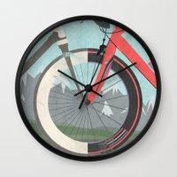 tour de france Wall Clocks featuring Tour De France Bicycle by Wyatt Design