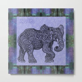 Elephant Purple Metal Print