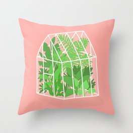 Greenhouse full of plants Throw Pillow