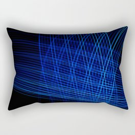 Blue lines on black background with abstract shapes. Rectangular Pillow