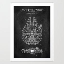 Millenium Falcon Chalkboard Art Print