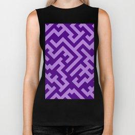 Lavender Violet and Indigo Violet Diagonal Labyrinth Biker Tank