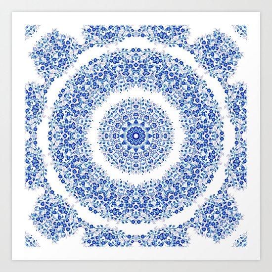 Blue White Floral Mandala Art Print