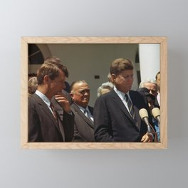 John and Robert Kennedy with J. Edgar Hoover - 1963 Framed Mini Art Print