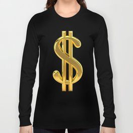 Gold Dollar Sign Black Background Long Sleeve T-shirt