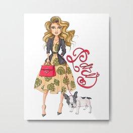 Girl with Bulldog Metal Print