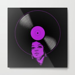 Afrovinyl (Purple) Metal Print
