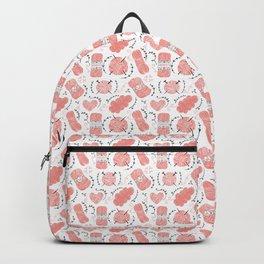 Knitting Yarn Pattern Pink Backpack