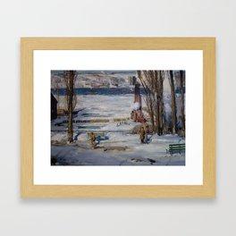 "George Wesley Bellows ""A Morning Snow - Hudson River"" Framed Art Print"