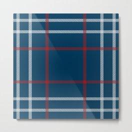 Red, White & Blue Plaid Tartan Pattern Metal Print