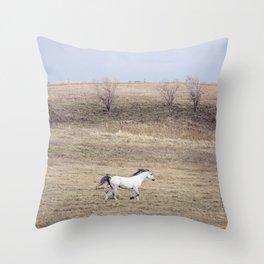 White Horse Gallop Throw Pillow