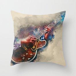 BB King's electric guitar, guitar wall art, studio decor, music room decor, gift for guitarist Throw Pillow