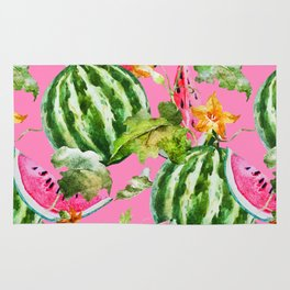 Watermelon Pattern with Pink Background Rug