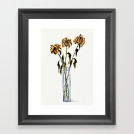 Three dried peonies Framed Art Print