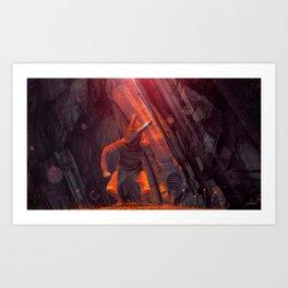 Orange Rabbit Art Print