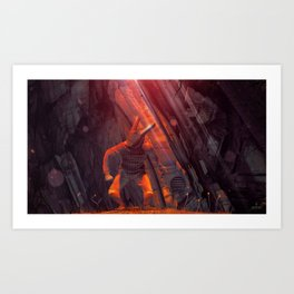 Orange Rabbit Art Print