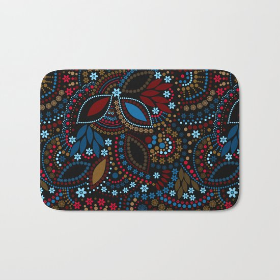 Scattering beads . Black background Country . Bath Mat