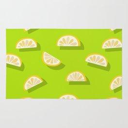 Slices of Orange - Pattern on Lime green Rug