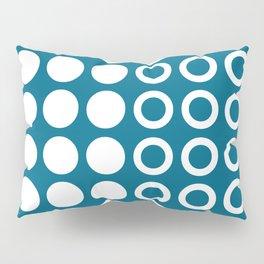 Mid Century Modern Circles And Dots Peacock Blue 2 Pillow Sham