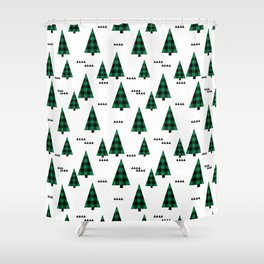 Christmas Tree forest plaid camping triangle geometric minimal festive holiday Shower Curtain