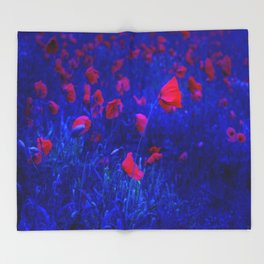 Red in Blue Throw Blanket