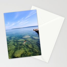 Serenity Swim in Lake Superior Stationery Cards