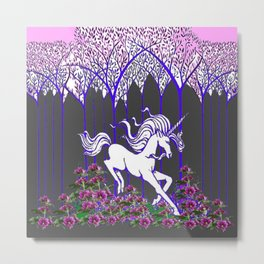 RUNNING WHITE UNICORN IN FLOWERS & FOREST Metal Print