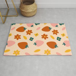 Strawberry and Floral Print Rug