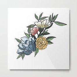 Pastel Peonies Watercolor Flowers and Leaves Metal Print