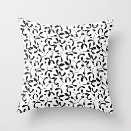 Rustic Mistletoe White and Black Throw Pillow