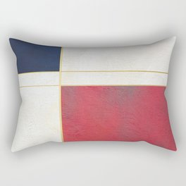 Blue, Red And White With Golden Lines Abstract Painting Rectangular Pillow